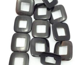 1 strand Horn beads, square, black, 32mm, 1 line, 13 pieces, squares, Buffalo Horn, angular, horn beads
