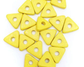 20 ceramic triangles, yellow, 10mm, 20 pieces, ceramic beads, ceramic beads, greek beads, Greek, mykonos beads, rectangle lens
