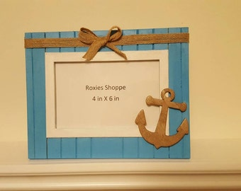 Beachy Anchor Picture Frame 4 x 6 in