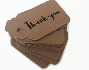Pack of 20 Thank you tags | thankyou kraft tags | rustic favour tag | boho favour tag |  kraft tag | thankyou tag | wedding thank you tags