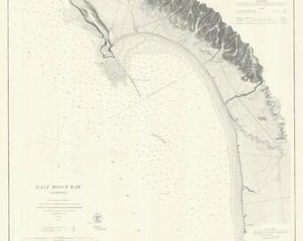 Half Moon Bay California Historical Map 1863