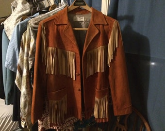 Women's Size Small Jo-o-kay 1960s Vintage Suede Leather Fringe Western Jacket