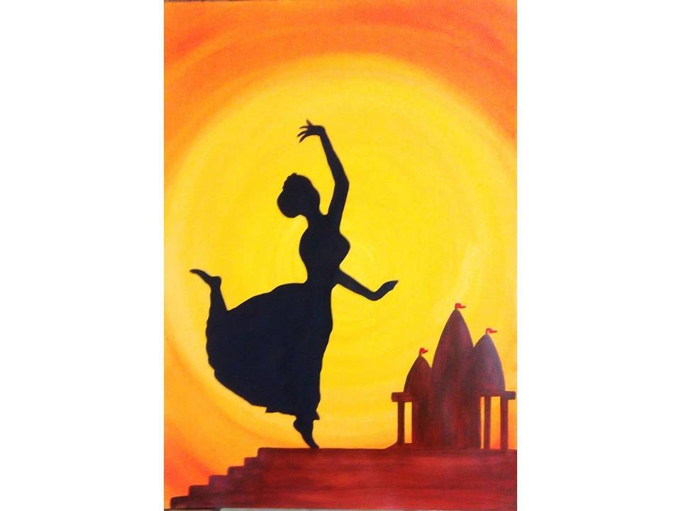 indian dance silhouette painting print home decor by colormela