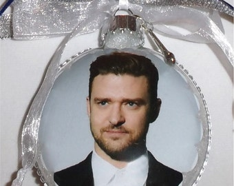 Justin Timberlake inspired tribute Glass Christmas Ornament