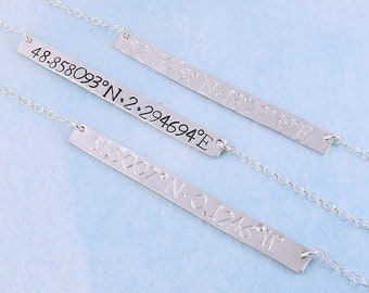 Sterling Silver Coordinates Necklace, Hand Stamped Personalized Latitude Longitude Bar Necklace, Custom Coordinates Jewellery