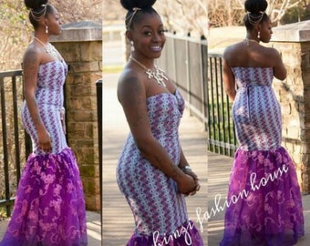 30% off ! Purple African Print & Lace Mermaid Dress/ Evening Gown / Prom Dress !