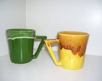 Mid Century Winart Drip Glaze Coffee Mugs Green and Yellow Set of Two 50s Vintage