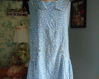 Adorable 1920's Blue and White Cotton Print Dress