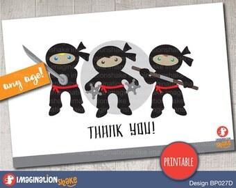 Ninja Birthday Thank you Card / Ninja Party Printables / Printable Ninja Card