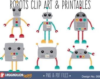Robots Clip Art Printables Set / Robot Clipart / Robot Party Printables / Robot Birthday Printables / Colourful Robots / Kawaii / No. 006