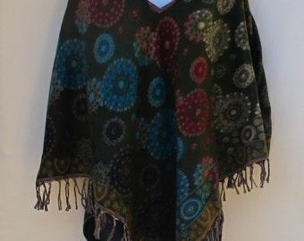 Poncho Hoodie Tassels Fringe Boho Bohemian 60s Designer Hippie HandmadeHimalayan Handloomed Yak Wool Blend Shawl Multicolored 1 Size 9306