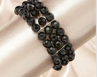 Elegant Bracelet With Black Crystal <3 *