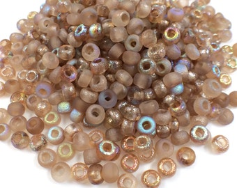 25 grams Etched 6/0 Seed Beads, Czech, Crystal Brown Rainbow