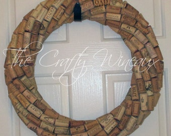 """Large 19"""" Handmade Wine Cork Wreath, Without Grapes/No Grapes, Recycled Wine Cork Door Wreath"""