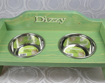 Cat or small dog food & water bowls in distressed wooden rack FREE PERSONALIZATION