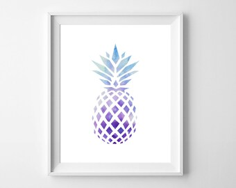 Pineapple Print/ Pineapple Wall Art/8x10 Wall Print/ Beach print/Blue Pineapple/Summer print/Pineapple home decor/Instant download/Fruit