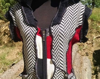 Zig zag, red and black upcycled sweater vest.