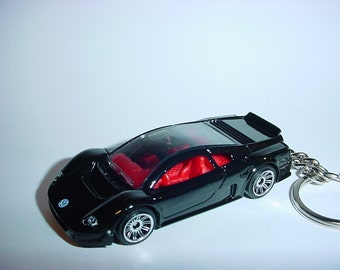 3D Volkswagen W12 custom keychain by Brian Thornton keyring key chain finished in black color trim metal body VW exotic
