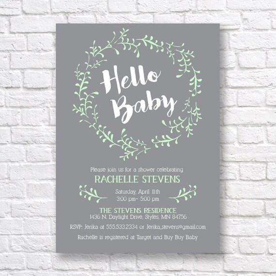 BABY SHOWER INVITATION Gender Neutral Baby Shower Invitation