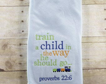 Train a child in the way he should go - baby boy - blanket - coming home - baby shower - gift - set