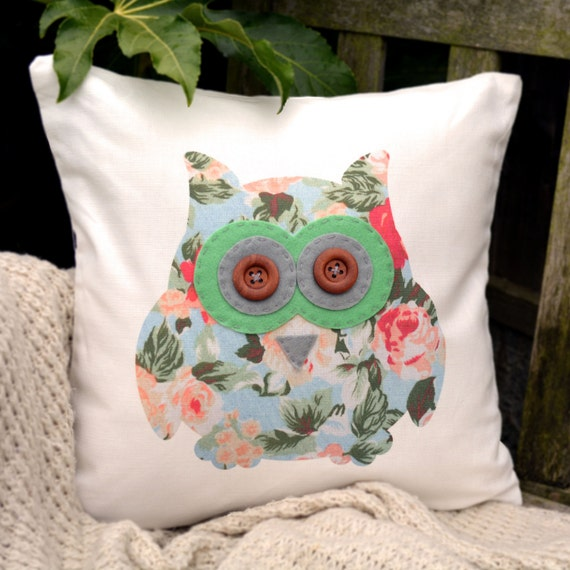 "Owl Cushion - Floral with green & light grey ""The Owls of Hoot"" Collection, Tamsin Reed Designs"