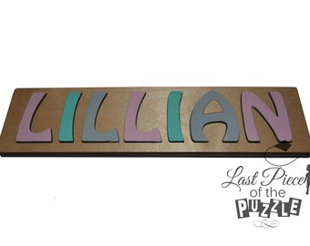 Hand Crafted Personalized Wooden Name Puzzles Child's Name, Custom Made Puzzle Light Pink, Aqua, Light Gray id240796862