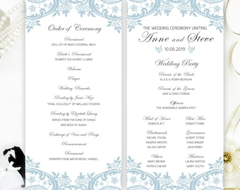 Printed programs for wedding | Blue lace wedding programs cheap | Classy and elegant wedding program with lace | Party programs