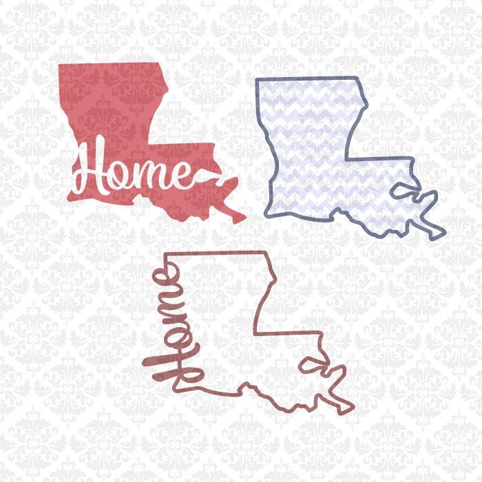 Louisiana State Set Monogram Chevron Home Outline SVG ...