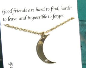 Rhinestone Gold Crescent Moon Bracelet, Best Friend Moon Bracelet, A5, Friendship Bracelet, Gift For Friends, Best Friend Gift