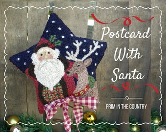 Postcard With Santa Punch needle Pattern