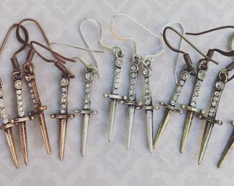 Sword Earrings  -  Rhinestone Sword Earrings  -  Rhinestone Drop Earrings