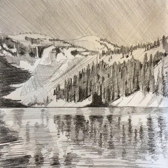 Lake Ann, Lake, Mountain, North Cascades, Pacific Northwest, landscape drawing, pencil landscape, landscape, Northwest, Northwest drawing