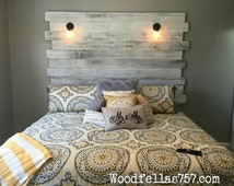 Queen Cottage style headboard with lights.