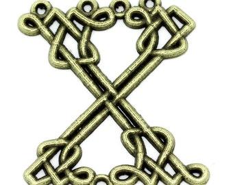 50PCs X Shape Connectors Findings Bronze Tone