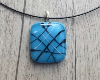 Colorful fused glass pendant and necklace, contemporary jewelry fused glass, teen women jewelry necklace pendant, everyday jewelry
