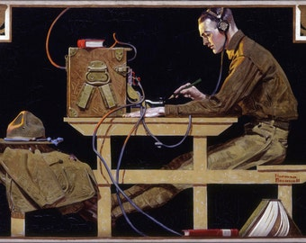 24x36 Poster . U.S. Army Teaches A Trade Telegraph By Norman Rockwell 1919