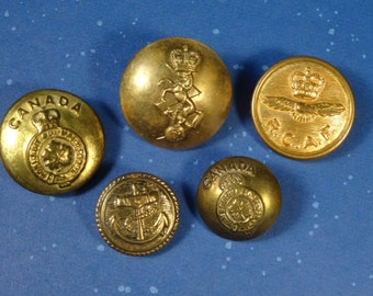 Set of 5 Canadian Military Buttons