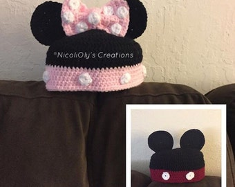Mickey Mouse and Minnie Mouse inspired crochet hats.