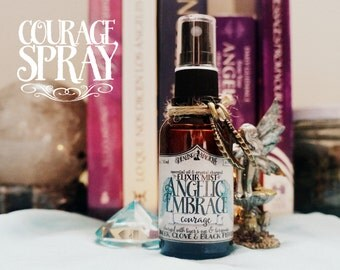 Courage Spray *Angelic Embrace* with Essential Oils and Crystals -Ginger, Clove, Black Pepper, Tiger's Eye & Turquoise (1oz - 30ml)