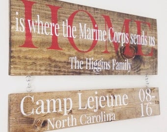 Home Is Where The Military Sends Us - Military Sign - Personalized Military Sign - Duty Station Sign - Wood Military Sign