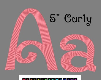 Machine Embroidery Fonts - Large Curly Font - 1 Size Font - Curly Embroidery Font - Swirly Embroidery Font
