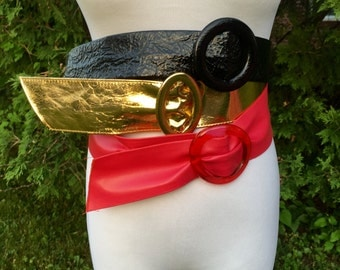 3 retro wiggle pinup belts - gold lame lucite pink and black medium large