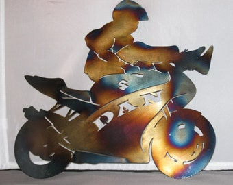 Motorcycle Sign, Metal Sign, Metal Wall Art, Garage Sign, Custom Sign, Name Sign, Motorcycle Metal Art, Metal Custom Sign