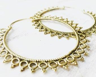 50% OFF Large Brass Earrings, Boho Earrings, Tribal Earrings, Hoop Earrings, Gold Earrings, Gipsy Earrings, Tribal Belly Dance Jewellery.