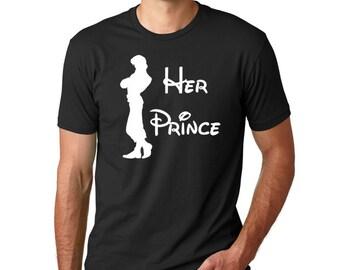 "Disney Tangled ""Her Prince"" // Men's Disney Shirt // Plus Size Disney Shirts // Disney's Rapunzel Shirt, Disney Couples Shirt, Disney Lovers"