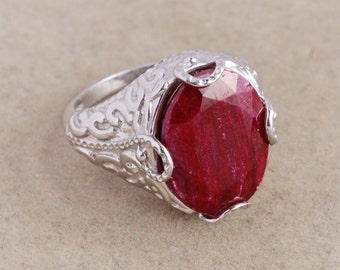 Ruby 925 sterling silver ring jewelry - Ruby oval ring - July birthstone gift idea - Dyed Ruby ring - Ruby silver ring - Solitaire ring gift