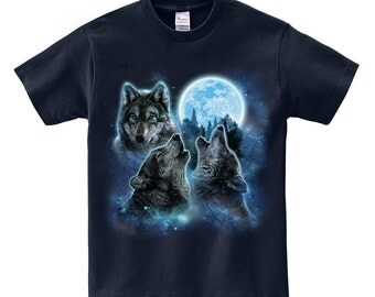 Men T-Shirt, Women T-Shirt, Graphic Tee, Dad Gift, Gift shirt, Three Alpha Wolves Howling in the Icy Blue Moon, Wolf t-shirt, Three Wolf Tee