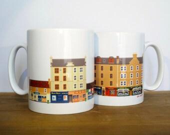 Pixel Dundee - Mennie's/ Speedwell Bar Mug. Scotland/ Scottish Pub. Cityscape Pixel Illustration.