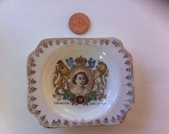 Queen elizabeth, coronation, pin dish