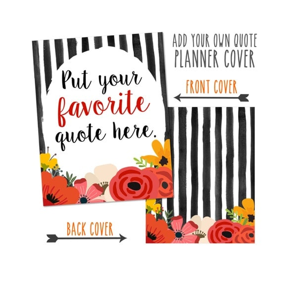 Personalized Planner Cover-Add your own quote. Choose from Cover only or Cover Set -Fits Happy Planner, Big Happy Planner or Erin Condren